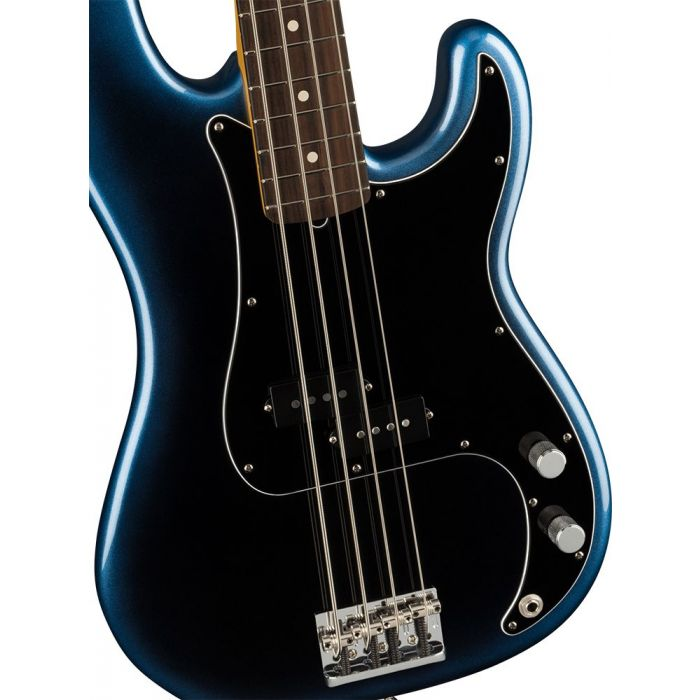 Closeup of the body on a Fender American Professional II Precision Bass RW, Dark Night