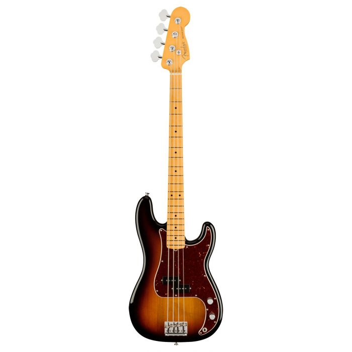 Full frontal view of a Fender American Professional II Precision Bass MN, 3-Color Sunburst