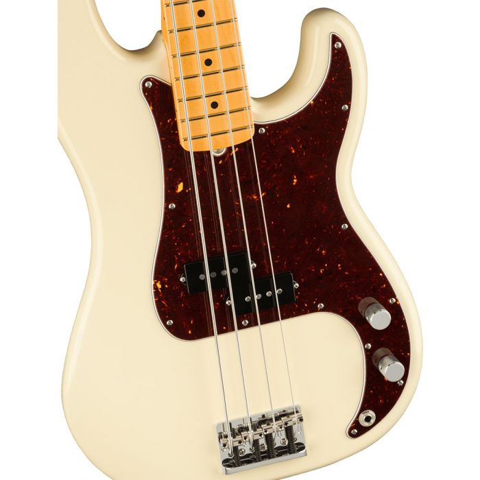 Closeup of the body on a Fender American Professional II Precision Bass MN, Olympic White