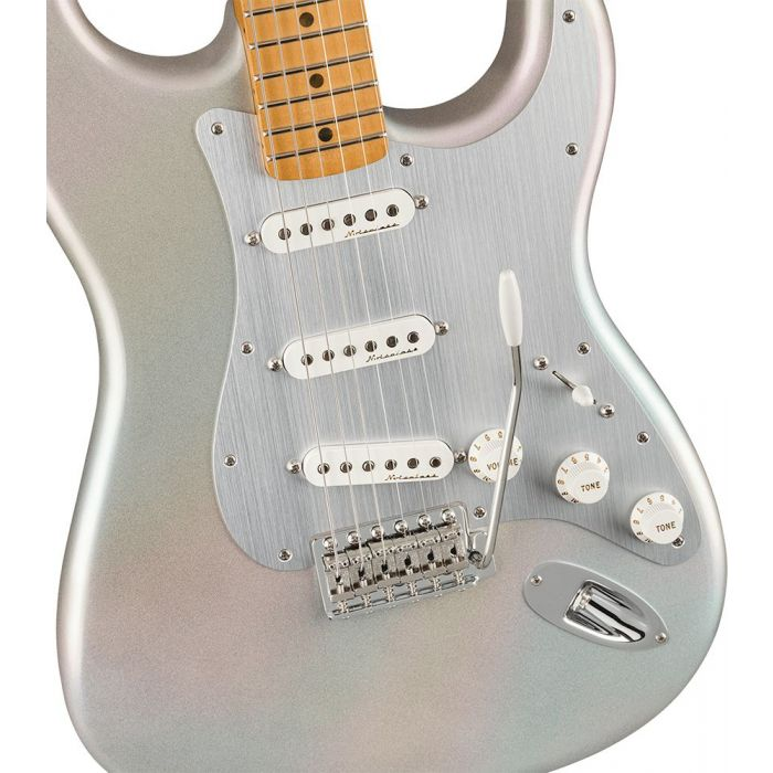 Closeup of the body on a Fender H.E.R. Stratocaster Guitar, Chrome Glow