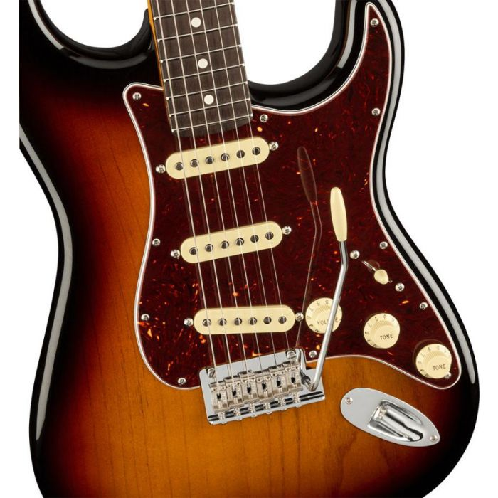 Closeup of the body on a Fender American Professional II Stratocaster RW, 3-Color Sunburst