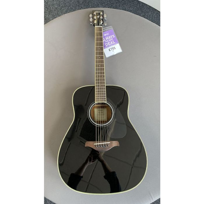 Full frontal view of a B-Stock Yamaha FG-TA Acoustic Guitar Black