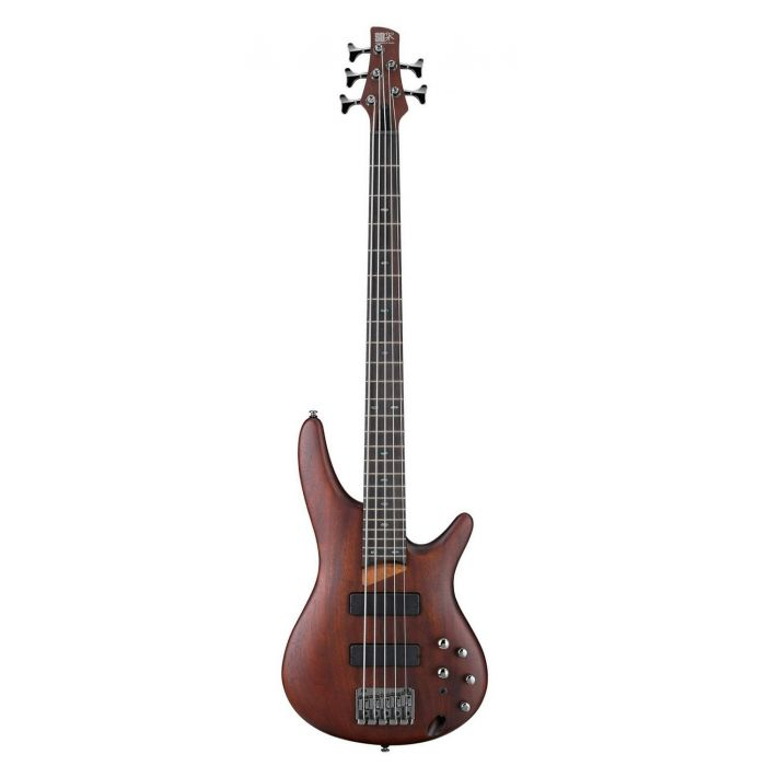 Full frontal view of a B Stock Ibanez SR505-BM SR 5 string Bass Brown Mahogany