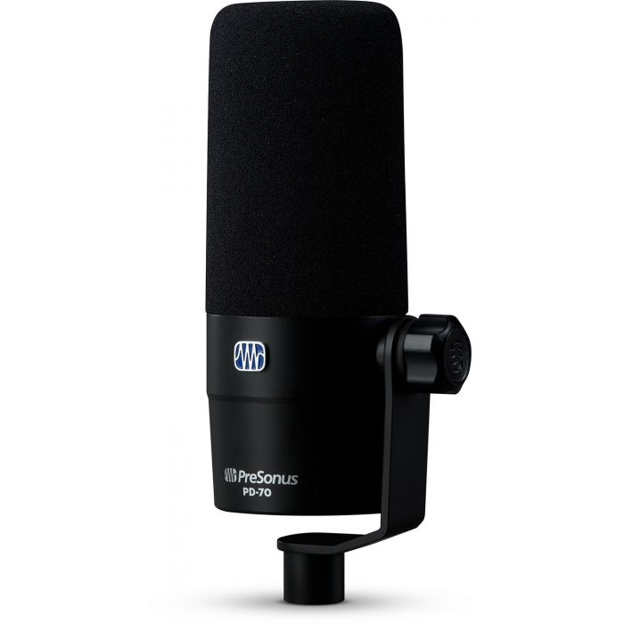 Front right-angled view of a Presonus PD-70 Broadcast Dynamic Microphone