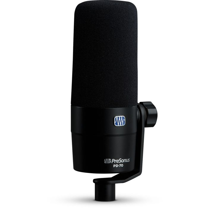 Front left-angled view of a Presonus PD-70 Broadcast Dynamic Microphone