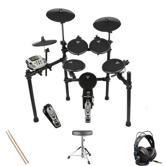 Tourtech TT-16S Electronic Drum Kit Headphone Bundle
