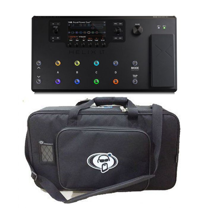 Full view of a Line 6 Helix LT Effects Processor with Free Rigid Case