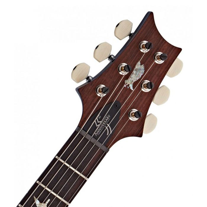 Closeup of the headstock on a PRS 35th Anniversary Custom 24 in Violet Blueburst