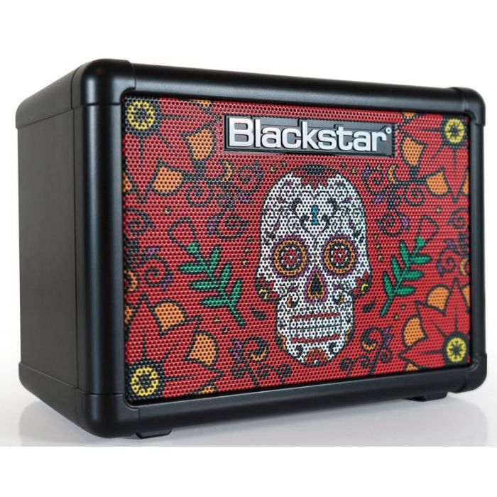 Front right angled view of a Blackstar FLY3 Sugar Skull 2 3w Battery Powered Combo