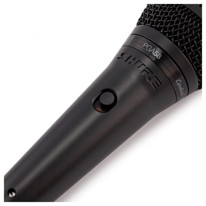 Shure PGA58 Vocal Microphone with XLR Cable Angled View