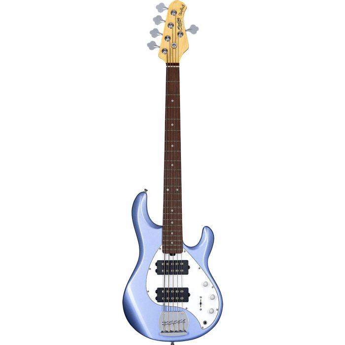 Full frontal view of a Sterling By Music Man SubRay 5 HH Bass in Lake Blue Metallic
