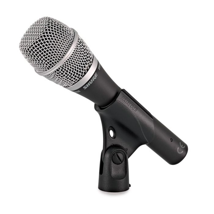Shure SM86 Condenser Vocal Microphone in clip side view