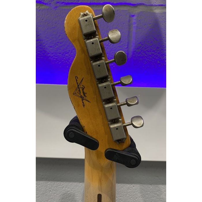 Rear view of the headstock on a Pre-Loved Fender Custom Shop 51 Nocaster White Relic
