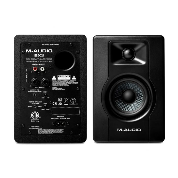 Front and Back of M-Audio BX3 Powered Studio Reference Monitor Pair