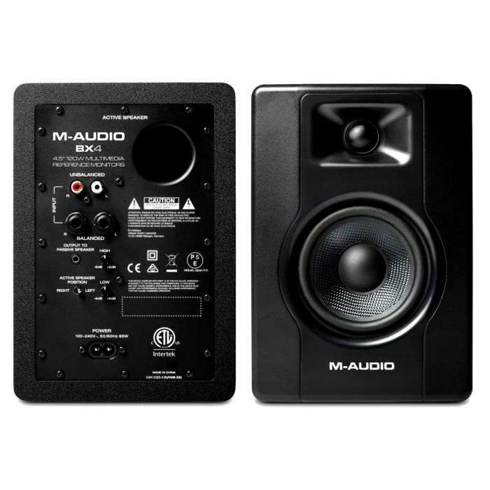 Front and Back of M-Audio BX4 Powered Studio Reference Monitor Pair