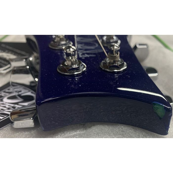 Closeup of the headstock on a B Stock PRS SE Standard 24 Guitar, Translucent Blue