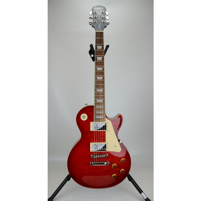 Full frontal view of a B-Stock Epiphone Les Paul Standard Plus-Top Pro, Blood Orange