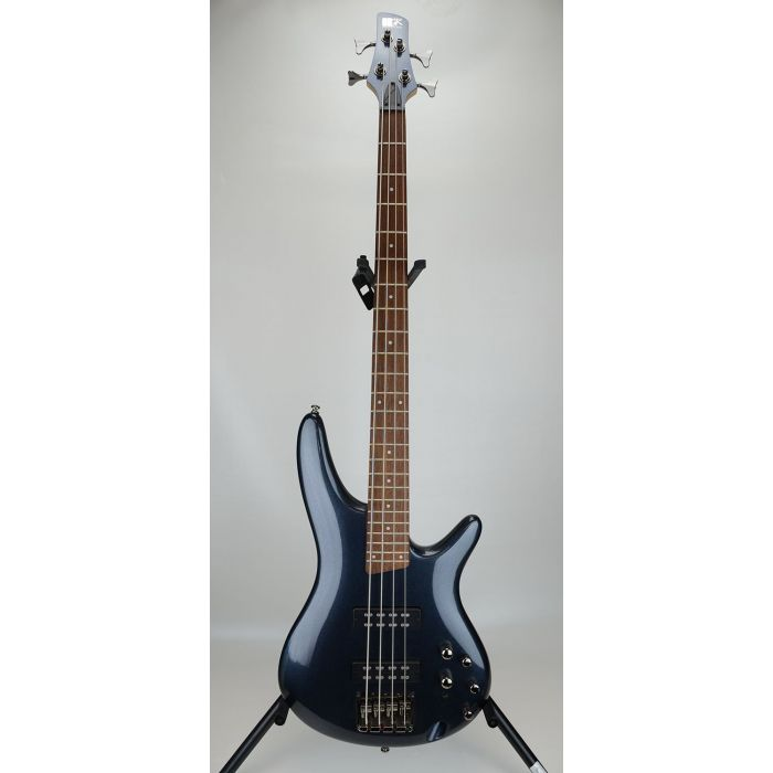 Full frontal view of a B Stock Ibanez SR300E-IPT SR Bass, Iron Pewter
