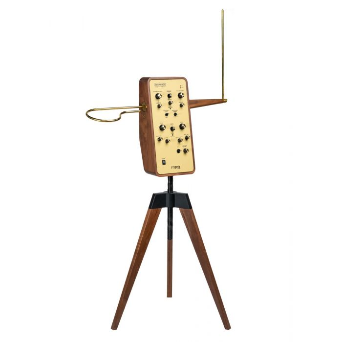 Angled View of Moog Claravox Centennial Theremin with Stand
