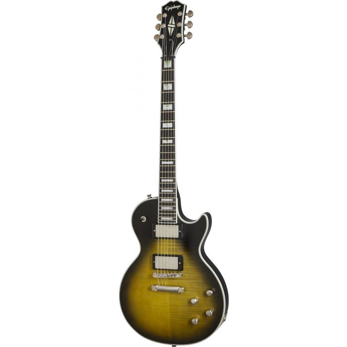 Full frontal view of a Epiphone Les Paul Prophecy, Olive Tiger Aged Gloss