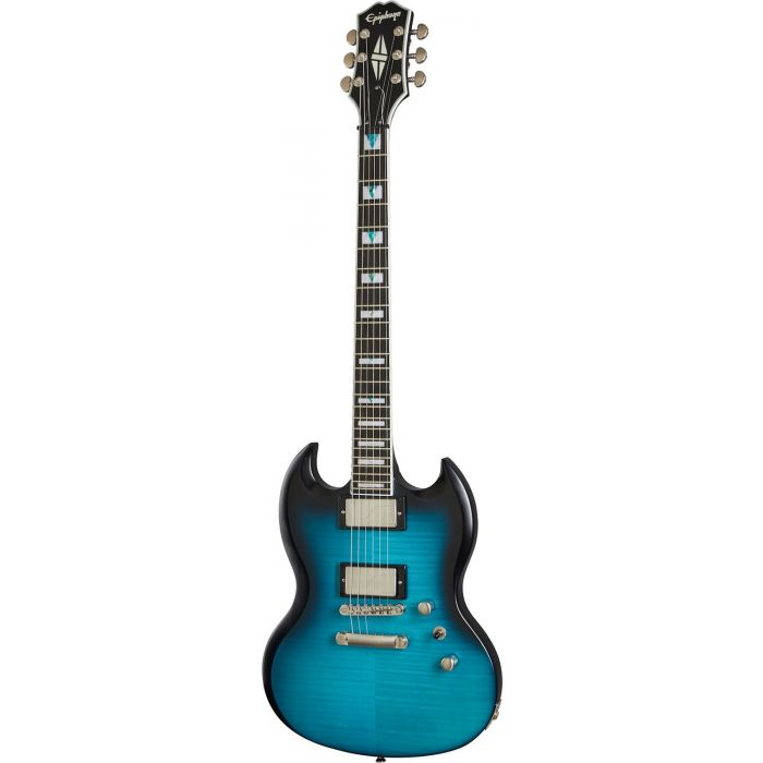 Full frontal view of an Epiphone SG Prophecy Blue Tiger Aged Gloss