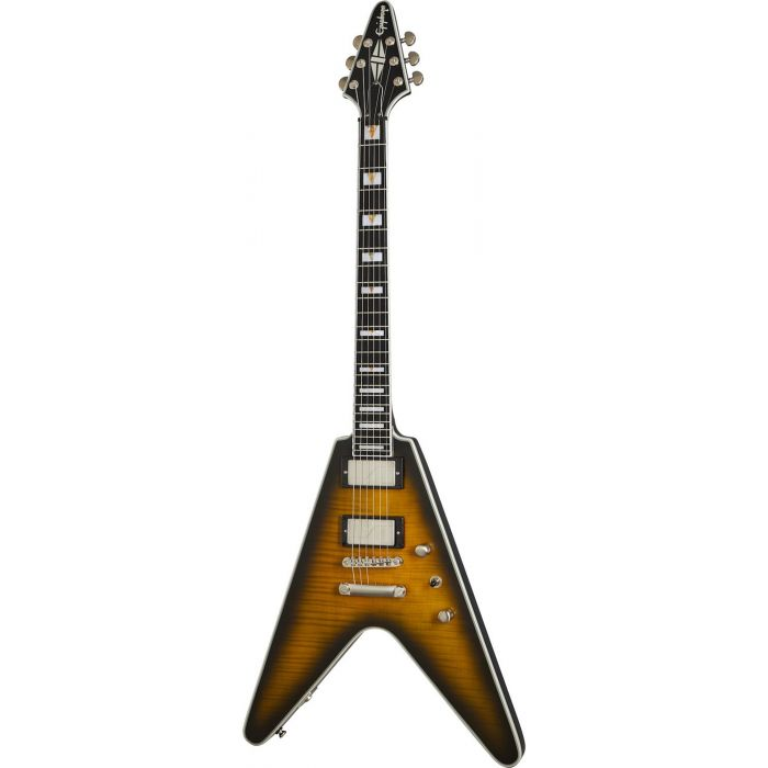 Full front view of an Epiphone Flying V Prophecy, Yellow Tiger Aged Gloss