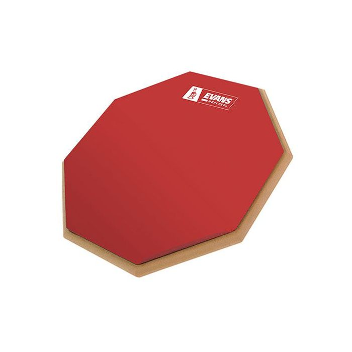 Full view of an Evans Real Feel Ltd Edition Barney Beats Practice Pad, Red Rubber