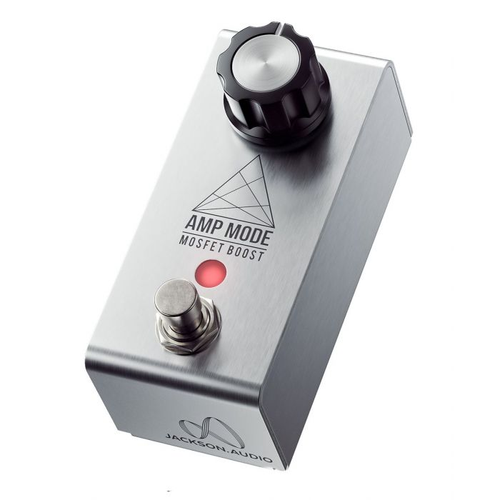 Front angled view of a JACKSON AUDIO Amp Mode MOSFET Transistor Boost Pedal