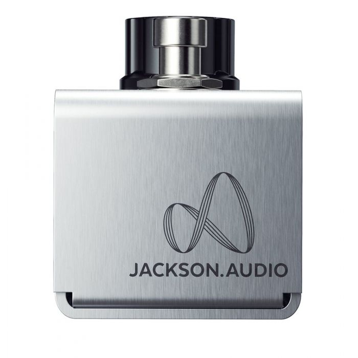 Closeup of the logo on a JACKSON AUDIO Amp Mode MOSFET Transistor Boost Pedal