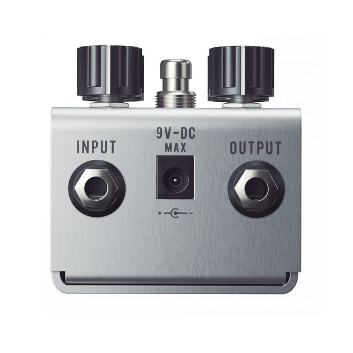 Closeup of the inputs on a Jackson Audio Belle Starr Drew Shirley Signature Drive Pedal