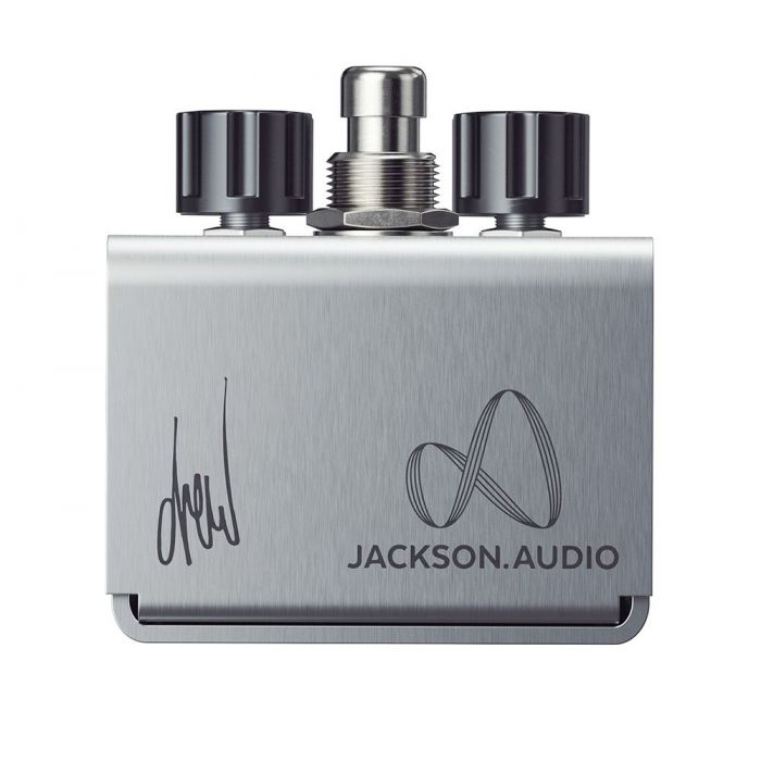 Closeup of the logo on a Jackson Audio Belle Starr Drew Shirley Signature Drive Pedal