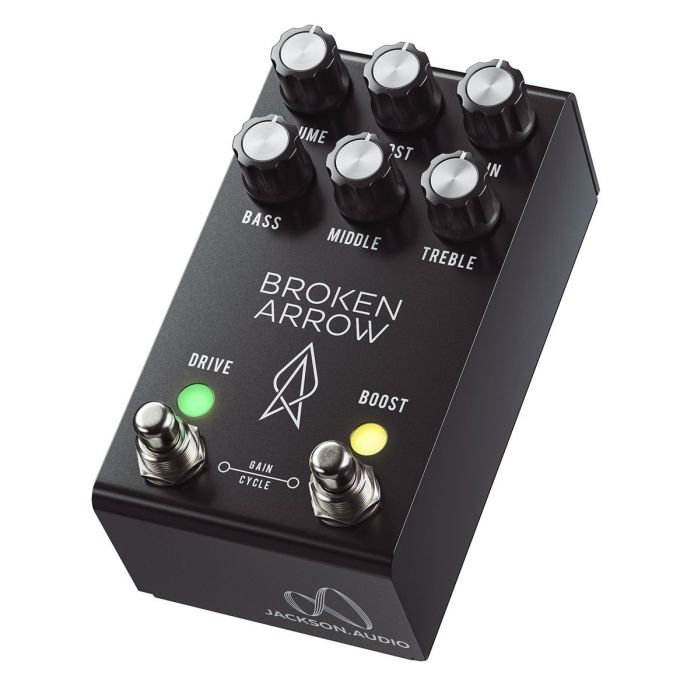 Front angled view of a Jackson Audio Broken Arrow Flexible Overdrive Pedal