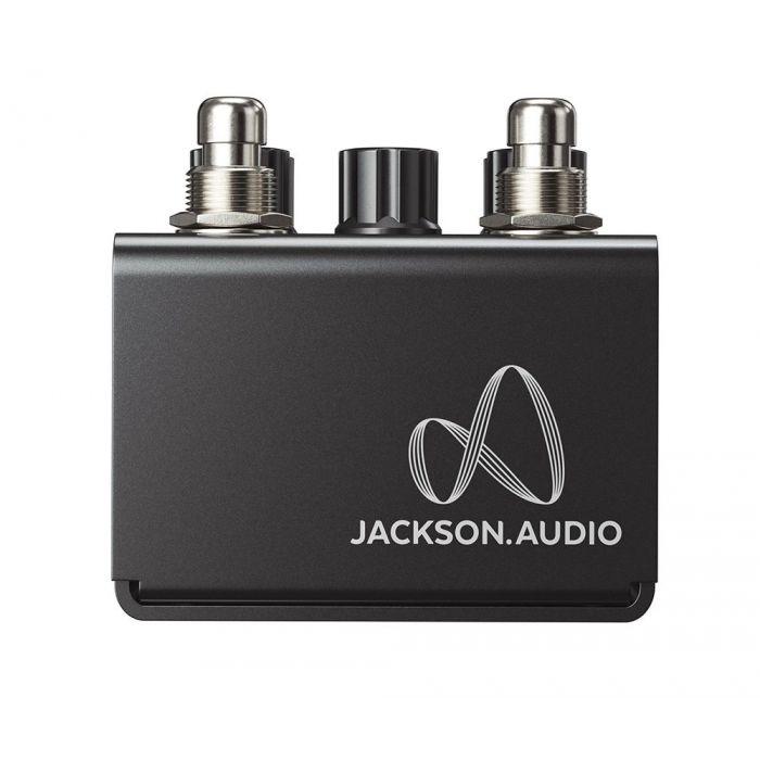 Closeup of the logo on a Jackson Audio Broken Arrow Flexible Overdrive Pedal