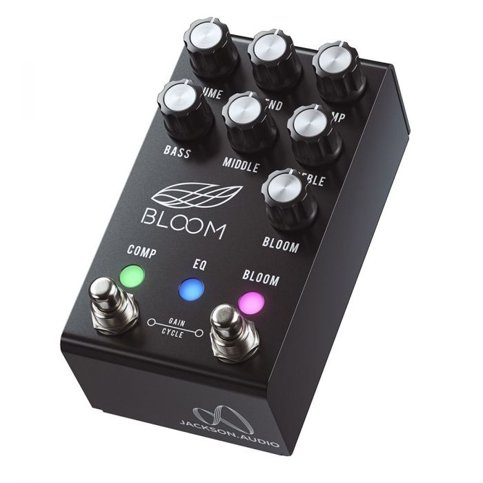 Front-angled view of a Jackson Audio Bloom V2 MIDI Dual Compressor Pedal