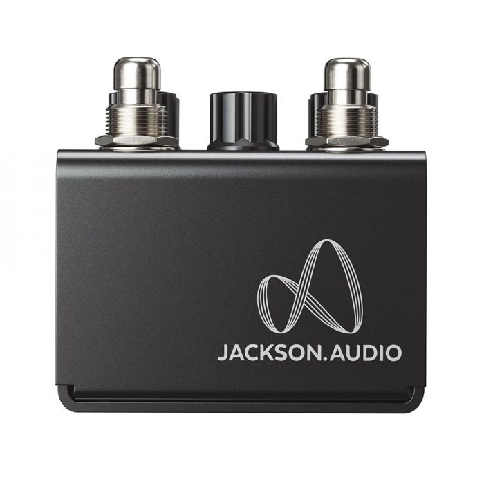 Closeup of the logo on a Jackson Audio Bloom V2 MIDI Dual Compressor Pedal