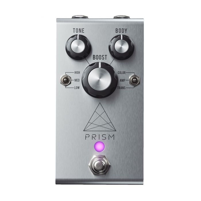 Top-down view of a Jackson Audio Prism Buffer Boost, EQ and Overdrive Pedal