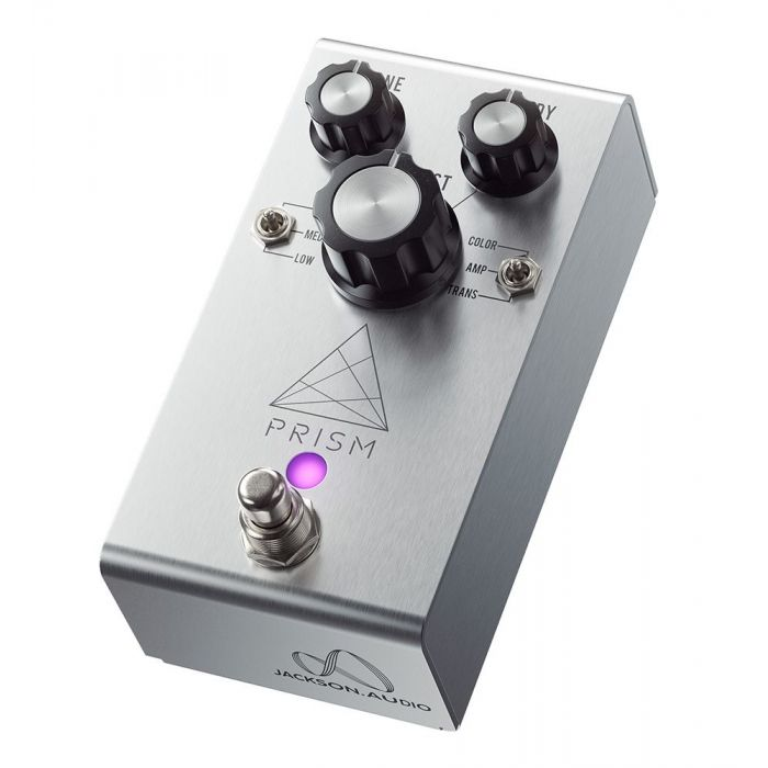 Front angled view of a Jackson Audio Prism Buffer Boost, EQ and Overdrive Pedal