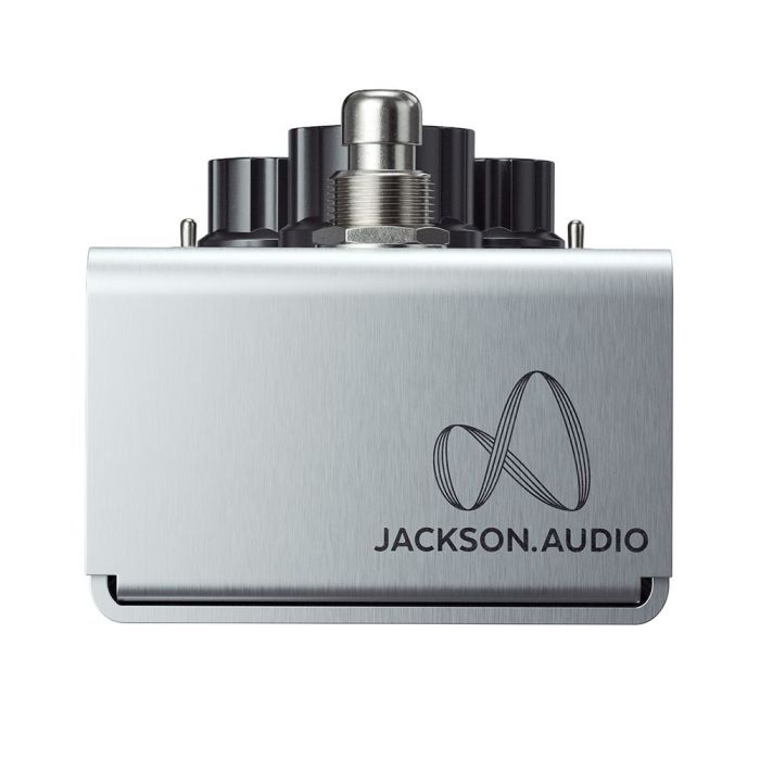 Closeu pf the logo on a Jackson Audio Prism Buffer Boost, EQ and Overdrive Pedal