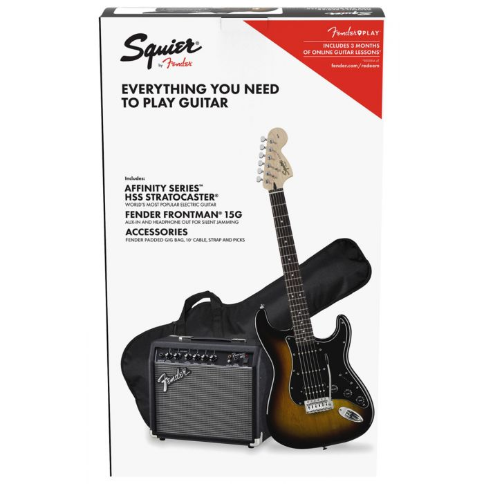 Full view of a Squier Affinity Stratocaster HSS Pack Brown Sunburst
