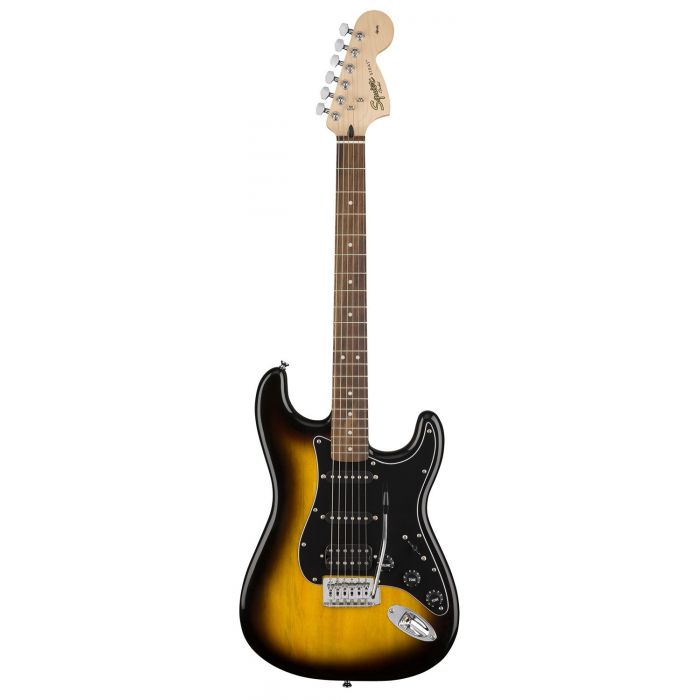 Front view of a Squier Affinity Stratocaster HSS in Brown Sunburst