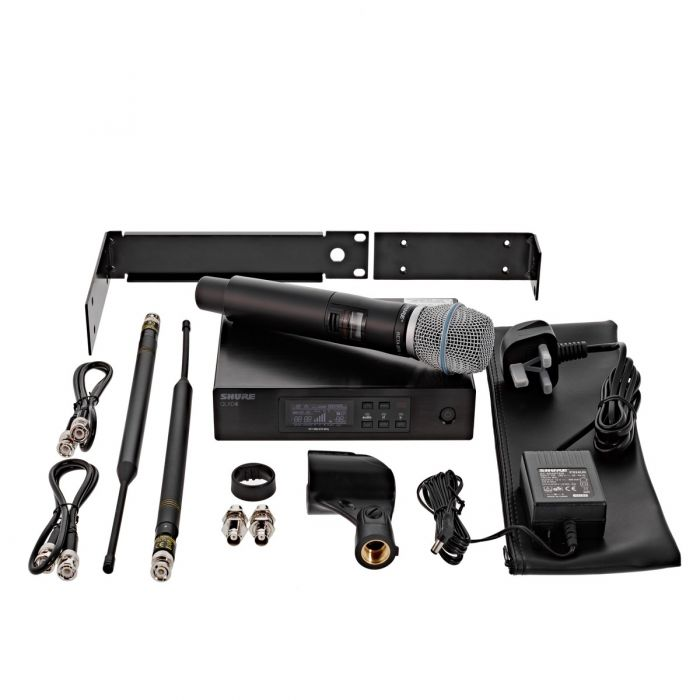 Overview of everything included with the Shure QLXD24 with Beta 87A Microphone