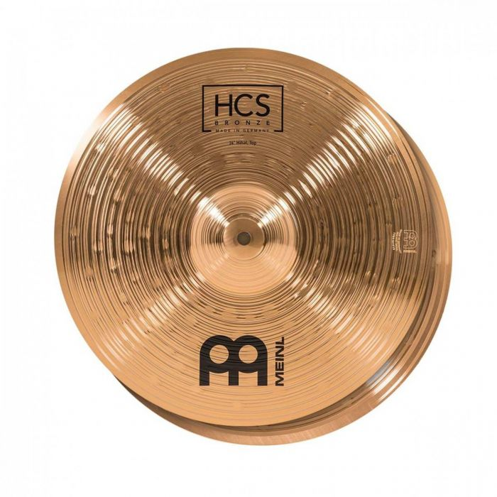 View of the 14 inch Hi-hat in the Meinl HCS Bronze Cymbal Pack With Gig Bag