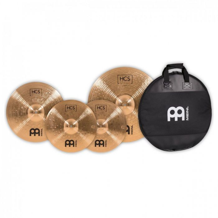 Overview of the cymbals and gig bag in the Meinl HCS Bronze Cymbal Pack With Gig Bag