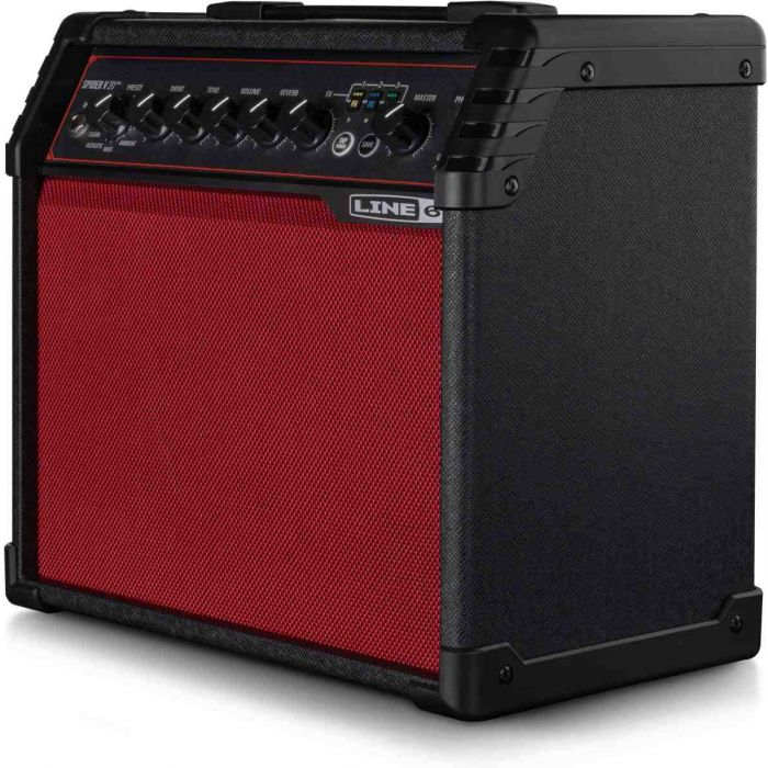 Side view of the Line 6 Spider V 20 MKII Guitar Amp Red Edition