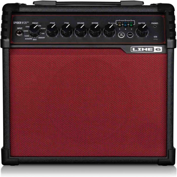 Main view of the Line 6 Spider V 20 MKII Guitar Amp Red Edition