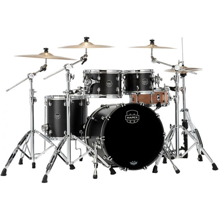 Full view of a Mapex Saturn 2020 Fusion 4-Piece Shell Pack, Satin Black
