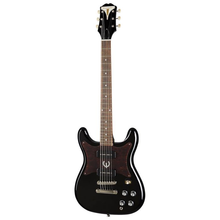 Full frontal view of an Epiphone Original Wilshire P-90s Electric Guitar, Ebony
