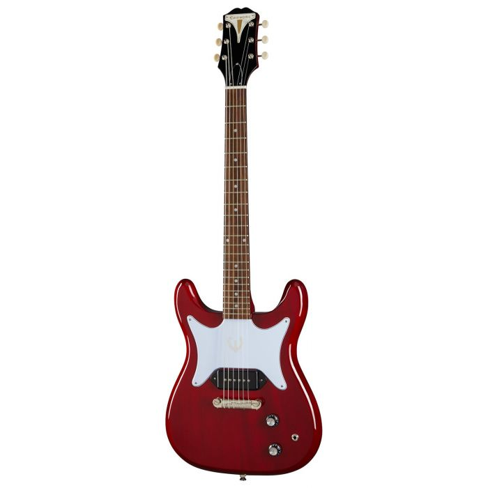 Full frontal view of an Epiphone Original Coronet Electric Guitar, Cherry