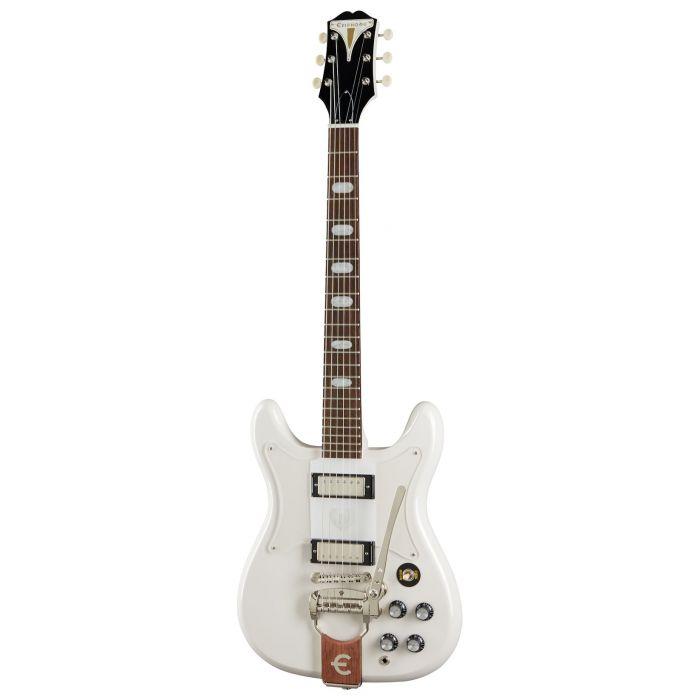 Full frontal view of an Epiphone Original Crestwood Custom Guitar, Polaris White