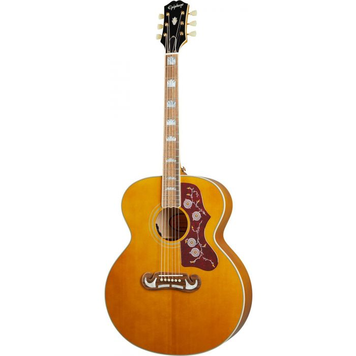 Full frontal view of an Epiphone Inspired By Gibson J-200, Aged Natural Antique Gloss